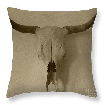 Sepia Skull Throw Pillow