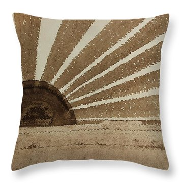Sepia Sunset Original Painting Throw Pillow