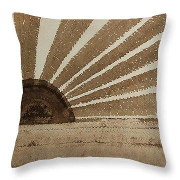 Sepia Sunset Original Painting Throw Pillow by Sol Luckman