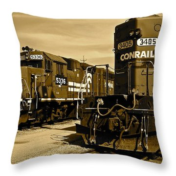 Sepia Trains Throw Pillow by Frozen in Time Fine Art Photography
