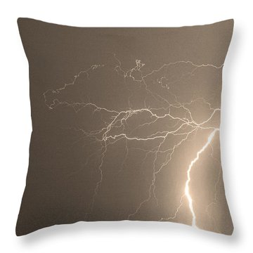 Sepia Tropical Thunderstorm Night  Throw Pillow by James BO  Insogna
