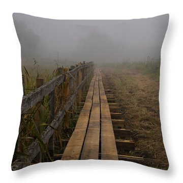 September Mist Hdr - Foggy Day Over Walk Way Throw Pillow