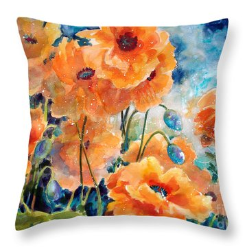September Orange Poppies            Throw Pillow