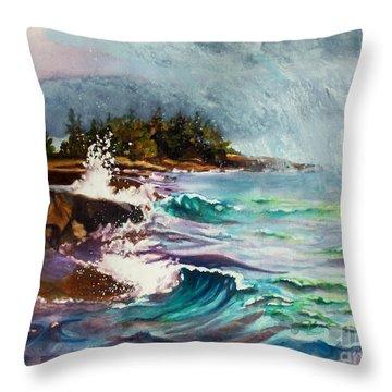 September Storm Lake Superior Throw Pillow