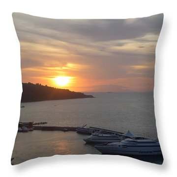 Throw Pillow featuring the photograph September Sunset In Sorrento by Nora Boghossian