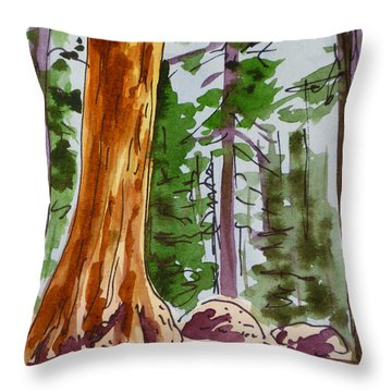 Sequoia Park - California Sketchbook Project  Throw Pillow by Irina Sztukowski