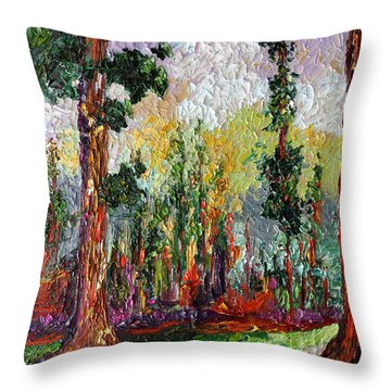 Throw Pillow featuring the painting Sequoia Path National Parks  by Ginette Callaway