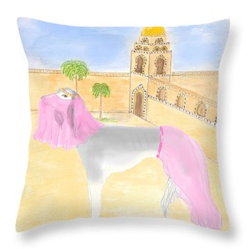 Throw Pillow featuring the painting Serena All Set For Arabian Nights by Stephanie Grant