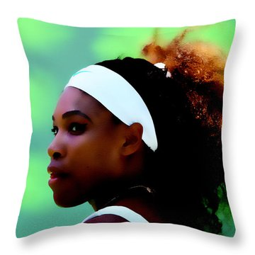 Serena Williams Match Point Throw Pillow by Brian Reaves