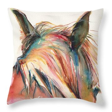 Horse Painting In Watercolor Serendipity Throw Pillow