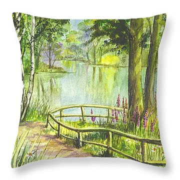 Throw Pillow featuring the painting Serendipity Stroll by Carol Wisniewski