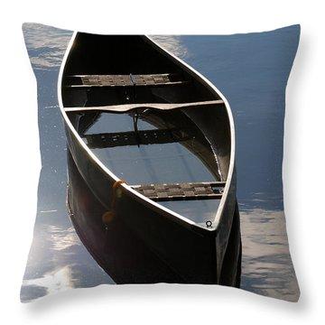 Serene Canoe With Sky Throw Pillow by Renee Forth-Fukumoto