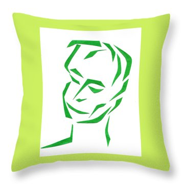 Throw Pillow featuring the mixed media Serene Face by Delin Colon