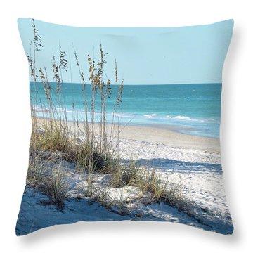 Serene Florida Beach Scene Throw Pillow