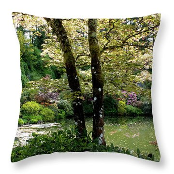 Serene Garden Retreat Throw Pillow