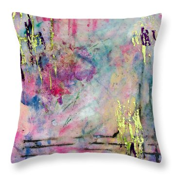 Serene Mist Encaustic Throw Pillow by Bellesouth Studio