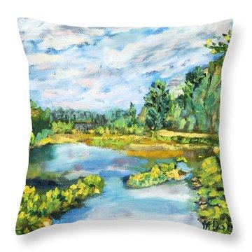 Serene Pond Throw Pillow
