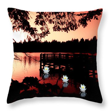 Serene Scene At Lake Ballinger Throw Pillow