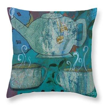 Serene Tea Throw Pillow by Robin Maria Pedrero