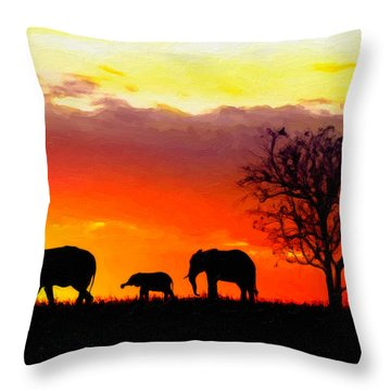 Serengeti Silhouette Throw Pillow