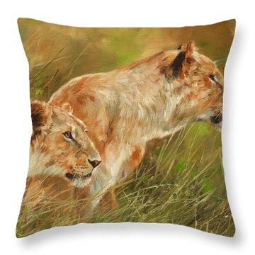 Serengeti Sisters Throw Pillow by David Stribbling
