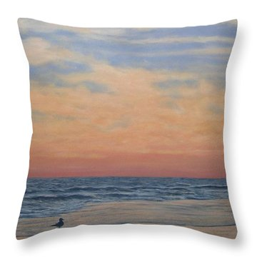 Throw Pillow featuring the painting Serenity - Dusk At The Shore by Kathleen McDermott