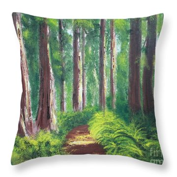 Serenity Forest Throw Pillow by Bev Conover