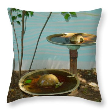 Throw Pillow featuring the photograph Serenity  Fountain by Lyric Lucas