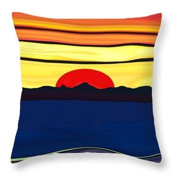 Serenity Lake Sunset Throw Pillow by Haleh Mahbod