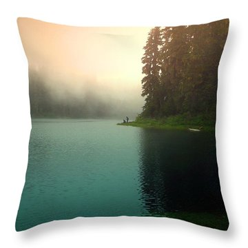 Serenity On Blue Lake Foggy Afternoon Throw Pillow by Joyce Dickens