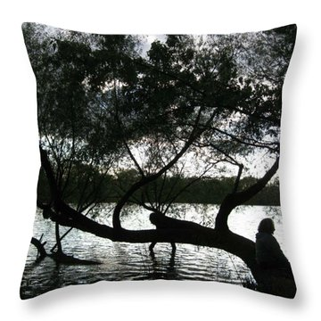 Serenity On The River Throw Pillow by Digital Art Cafe