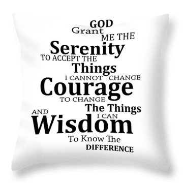 Serenity Prayer 6 - Simple Black And White Throw Pillow by Sharon Cummings