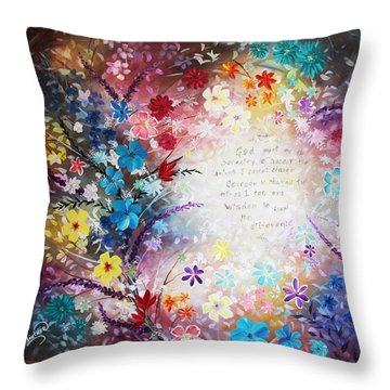 Throw Pillow featuring the painting Serenity Prayer by Patricia Lintner