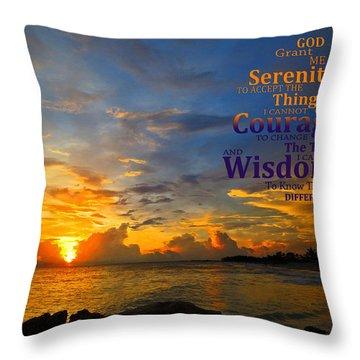 Serenity Prayer Sunset By Sharon Cummings Throw Pillow