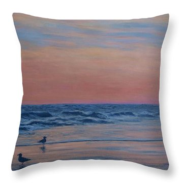 Throw Pillow featuring the painting Serenity - Study For Dusk At The Shore by Kathleen McDermott