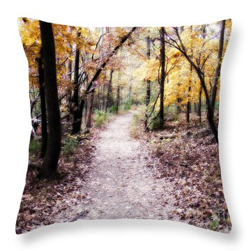 Throw Pillow featuring the photograph Serenity Walk In The Woods by Peggy Franz
