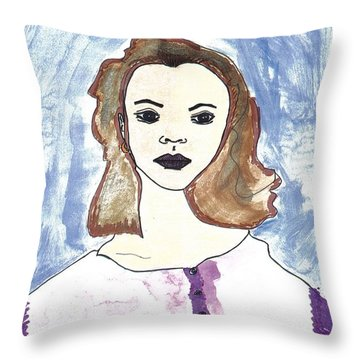 Throw Pillow featuring the drawing Serina by Don Koester