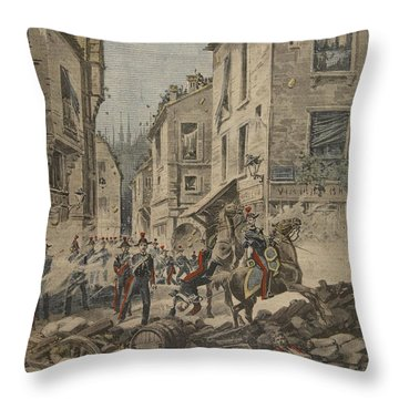 Serious Troubles In Italy Riots Throw Pillow by French School