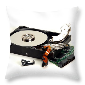Seriously Crashed Hard Drive Throw Pillow by Olivier Le Queinec