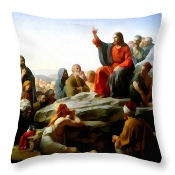 Sermon On The Mount Watercolor Throw Pillow by Carl Bloch