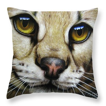 Serval Throw Pillow by Jurek Zamoyski