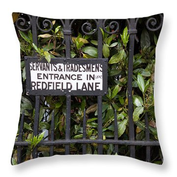 Servant And Tradesman Sign London  Throw Pillow by Thomas Marchessault