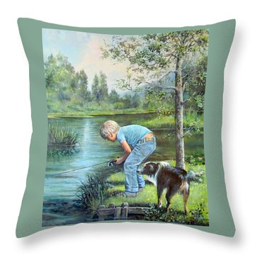 Seth And Spiky Fishing Throw Pillow by Donna Tucker