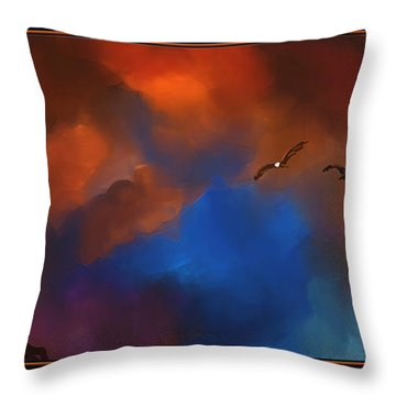 Setting Eagles Throw Pillow by Steven Lebron Langston
