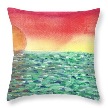 Throw Pillow featuring the painting Setting Sea by John Williams