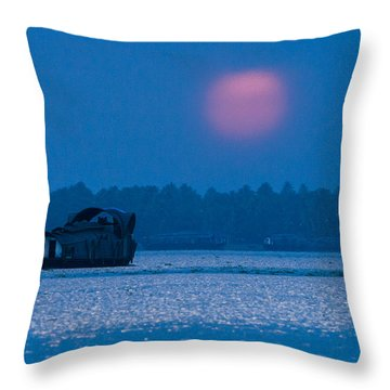 Setting Sun And Boat Throw Pillow