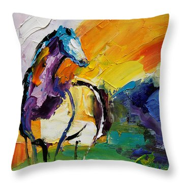 Settled In Horse 5 2014 Throw Pillow