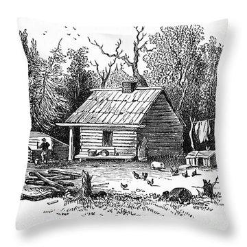 Settler's Log Cabin - 1878 Throw Pillow