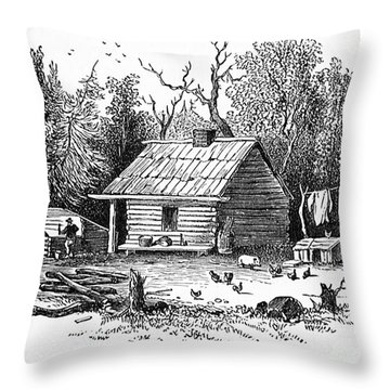 Settler's Log Cabin - 1878 Throw Pillow