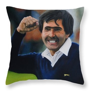 Seve Ballesteros Oil On Canvas Throw Pillow